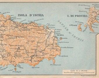 1929 Ischia Italy Antique Map