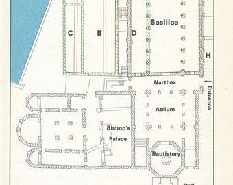 1969 Porec Basilica Croatia Vintage Map