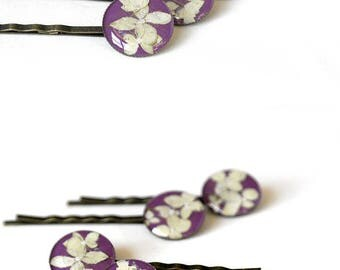 Wedding hair pins for gift for flower girls gift Bridal accessory for bridesmaid hair accessory Prom bobby pins Purple hair pins floral pins
