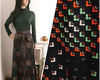 Vintage 70s Cotton Ditsy Retro Print Frill Hippy Maxi Skirt Boho Folk / UK 8 / EU 36 / US 4