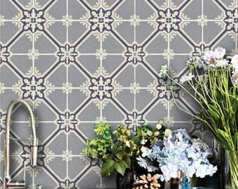 Kitchen and Bathroom Vinyl Tile Sticker Splash back - Removable Vinyl Wall Decal - Samsara Grey - Peel & Stick Wallpaper