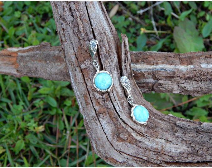 Featured listing image: AAA+ Quality Larimar Edged With Sterling Silver Dangle From a Pair of Beautiful Angle Wings