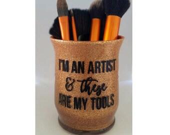 Makeup brush cup - Makeup organizer - Makeup Brush holder - makeup storage - Glitter makeup brush holder - Makeup artist gift - Gift for her