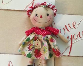 Primitive Raggedy  Ann doll patriotic