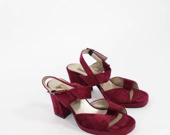 Vintage 1970s Deep Red Velvet Heel