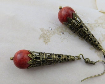 ANTIQUE RED CORAL Earrings Orange Brass Filigree Vintage Handmade Drop Victorian Steampunk French Provincial Jewellery Jewelry Gift Gemstone