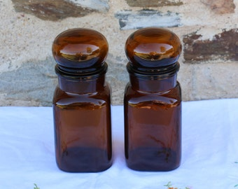 Lovely French vintage, brown glass retro storage jar. French Shabby Chic. Apothecary Jars.