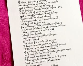 Sweet Graduation Poem from Mother to Daughter Handwritten in Calligraphy -Print Available