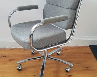 Mid Century Modern Executive Gray Office Chair (Herman Miller Eames  Time Life Chair Inspired