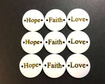 One Word Disc, faith hope love, gold on white, disc beads, bangle discs, bangle beads, gold beads, gold decal, gold words, acrylic blanks