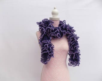 Scarf knit purple flared hand with matching tassels, trend hand knitted women scarf collar