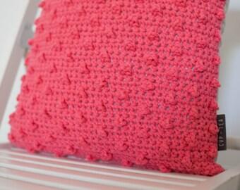 Crochet Dotted Cushion . Watermelon Red | Crochet Cushion | Throw Pillow | Pink | Decorative Pillow | Accent Pillow | Sofa Cushion