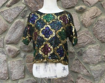 "Vintage 80s Style N Fashion Corp Colorful ""Mardi Gras"" Sequined Crop Top / Silk & Rayon Lining / Made in India / Women's Size Medium"