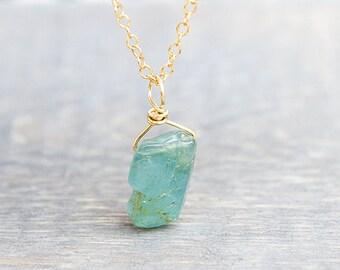Aquamarine Necklace - Raw Aquamarine - Rough Aquamarine - March Birthstone - Aquamarine Stone - Aquamarine Pendant - Aquamarine Crystal
