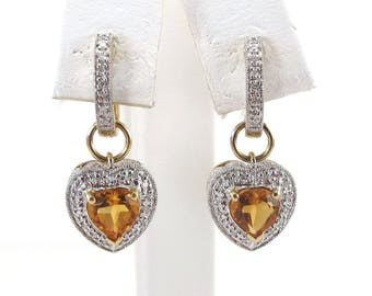 14k Yellow Gold Diamond And Topaz Huggie Dangling Heart Earrings