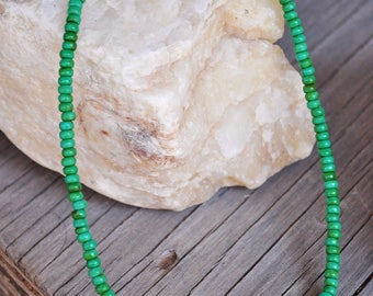 Green Turquoise Beaded Necklace (Natural Jewelry, Bohemian Jewelry, Rustic Jewelry)