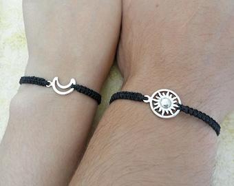 Couples Bracelet, Moon and Sun Bracelet, Love Bracelet, Set of 2 Bracelets, His and Hers Bracelets, Husband Wife Bracelets, Couples Gift