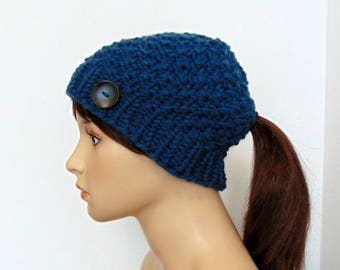 Knit Ponytail Hat - Beanie with Ponytail Hole - Gift for Her - Made in Alaska - Classic Ponytail Hat with Low Pony Tail Hole - Christmas