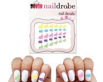 Rabbit nail art etsy 30 pastel bunny easter rabbit nail decals waterslide nail decal prinsesfo Image collections