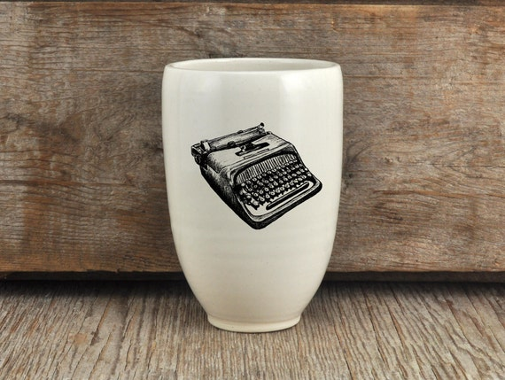 Porcelain beer tumbler with vintage typewriter drawing by Cindy Labrecque