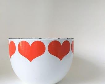 Mid Century Modern Vintage Enamel Heart Bowl by Kaj Franck for Arabia Finland