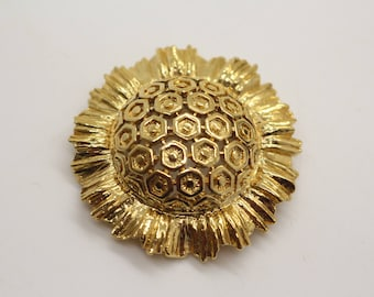 Vintage Monet Brooch Gold Colour Costume Jewellery