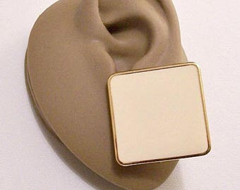 Monet Beige Square Block Pierced Stud Earrings Gold Tone Vintage Large Stripe Rimmed Edge Flat Box Discs Surgical Steel Posts