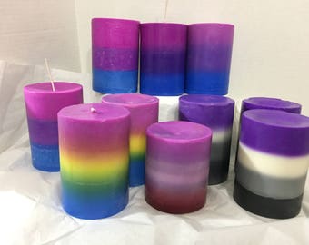 """CLEARANCE! Ready to Ship Pride Soy Pillar Candle, 3""""x4.5"""", LGBTQ, Pride Flag, Sale"""