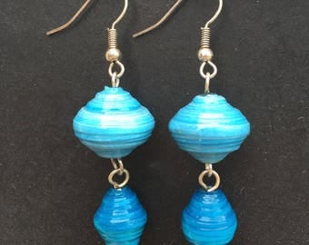 Chunky blue and teardrop paper bead earrings