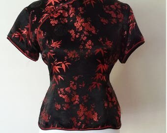 Cheongsam top, M, L, silk top, black top, red top, Chinese top, asian top, chinese blouse, silk blouse, formal blouse