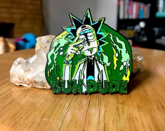 Rick and Morty Suh Dude Getter Hat Lapel Pin EDM Festival Rave Snapback Trippy LSD Acid