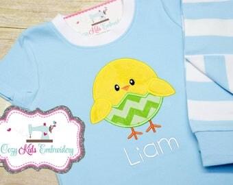 Easter pajamas, chick pajamas, girls pajamas, boy pajamas, girls pj, boy pj, spring pj, spring pajama, pj, girls pajamas, girls pj, appliqué