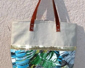 tote bag canvas designer tropical Palm tree jungle green/yellow, beige canvas, sequins, glitter gold
