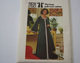 Caftan Pattern, Easy Sewing Pattern, 1970s, Long Pull Over Caftan, evening length, kimono sleeves, UNCUT Butterick 3992