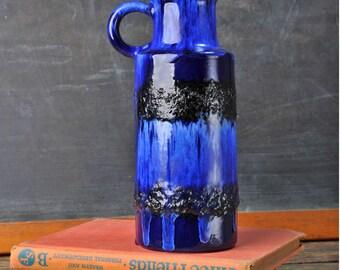 Mid Century Modern Scheurich 401-20 West German Pottery Fat Lava Vase Keramikk Modernist Mid Century Modern, Eames Era pottery Blue Pitcher