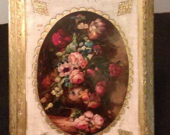 Vintage Italian Florentine Plaque--Still Life with Floral Arrangement