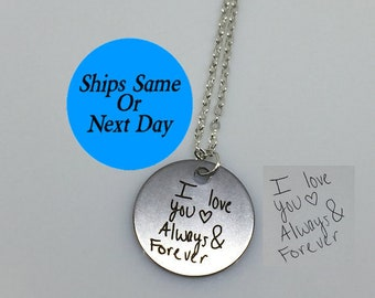 Engraved Handwriting Necklace, Signature Necklace, Engraved Signature Handwriting, Signature Necklace, Custom Handwriting Necklace