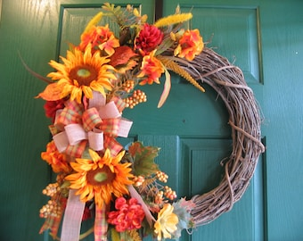 Fall Wreath, Fall Floral Wreath, Rustic Fall Wreath
