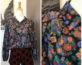 80s Vintage Black Floral Top Blouse