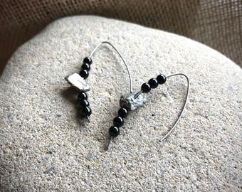 Copper EMF Earrings w/Black Tourmaline & Pyrite Beads