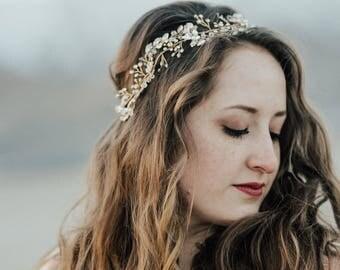 Rhinestone Hair Vine, Gold Hair Vine, Wedding Hair Accessory, Bridal Wreath, Rhinestone Hair Piece, Crystal Hair Crown