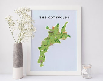 Map of The Cotswolds - Illustrated Map of The Cotswolds