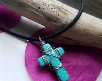 Semi-precious Silver Wire-wrapped Cross Pendant