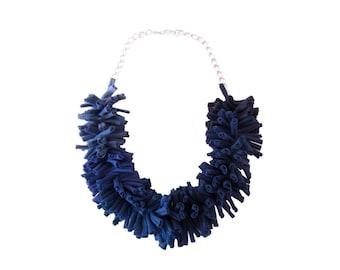 Blue Statement Necklace, Fabric Necklace, Chunky Necklace, T Shirt Yarn Necklace, Fabric Art Jewelry, Bib Necklace, Textile Art Necklace