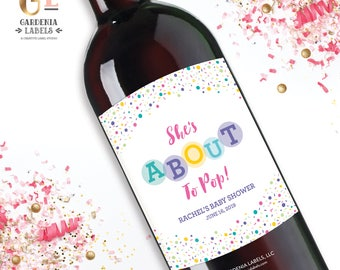 About to Pop Baby Shower Champagne, Baby Sprinkle Decor, Baby Shower Favor Champagne Label, Baby Shower Favor, Baby Shower Thank You Gift