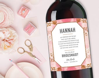 Bridesmaid Wine Labels, Bridesmaid Gift, Maid of Honor Proposal, Personalized Will You Be My Bridesmaid Gift, Ask Bridesmaid Champagne Label