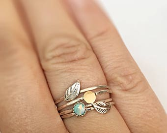 Silver Stacking Rings Set Of 4, Stacking Ring Set Of 4, Sterling Silver Rings For Women Stackable Opal Rings For Women Gold Silver Stacking