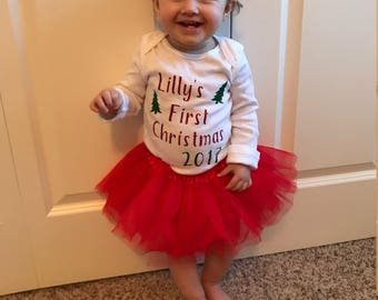First Christmas Personalized Onesie / Christmas Shirts / Pretty Christmas Shirts / Holiday Shirts / Sparkly Christmas Onesie