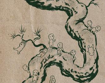 "Ghibli - ""Kodama Forest Spirits"" - Princess Mononoke Print"