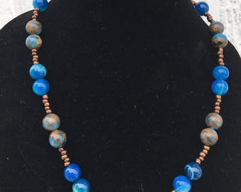 Blue Beaded Matinee Necklace